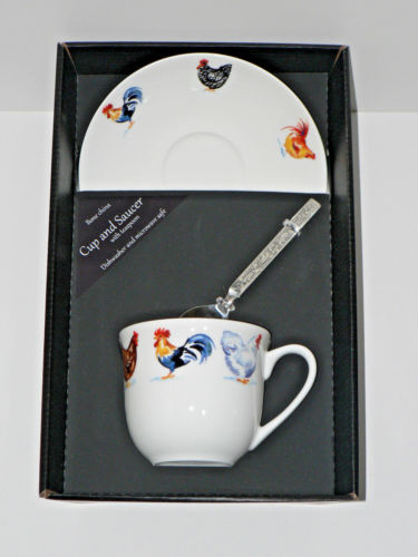 Chicken, cockerel, rooster, hen teacup and saucer set.  Bone china cup and saucer gift boxed with spoon