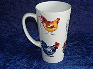 Chickens, cockerels chintz ceramic large latte mug  3/4pt capacity