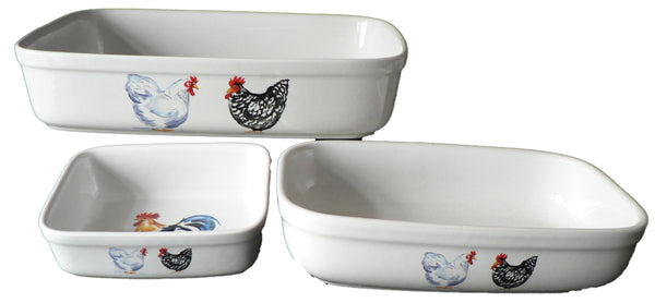 Chicken rectangular ceramic roasting, pie, serving dish - choice of 3 sizes