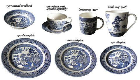 Churchill China blue willow pattern collection. Plates, mugs, dishes and other popular items