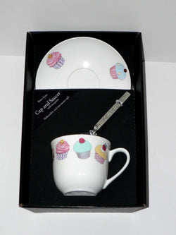 Cupcake teacup and saucer set.  Bone china cup and saucer gift boxed with spoon