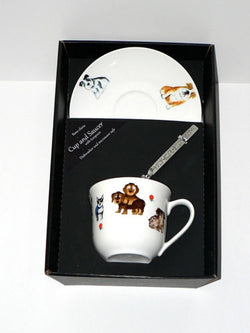 Dogs teacup and saucer set.  Bone china cup and saucer gift boxed with spoon