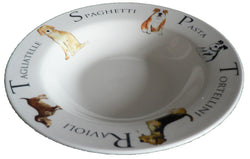 Small ceramic pasta bowl with dogs design 23cm  8.5""