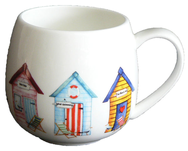 Beach Hut Bone china HUG a MUG rounded bone china mug decorated all round