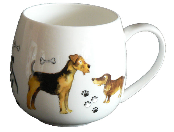 Dogs Bone china HUG a MUG rounded bone china mug decorated all round