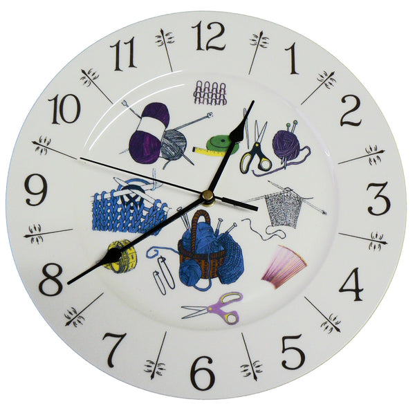 "Knitting design 11"" large ceramic wall clock - boxed wool needles knit"