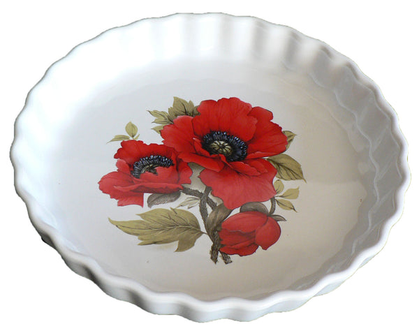 Poppy Pattern 25cm Ceramic flan Quiche Dish