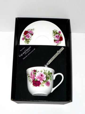 Pink rose teacup and saucer set.  Bone china cup and saucer gift boxed with spoon