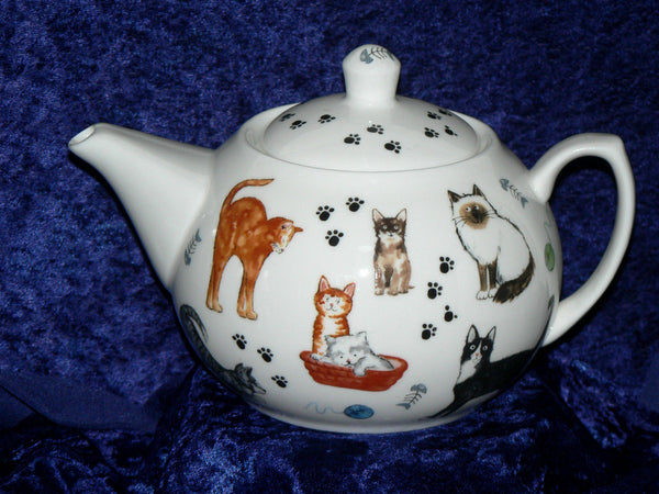 Cat teapot cats kittens design 6 cup porcelain teapot