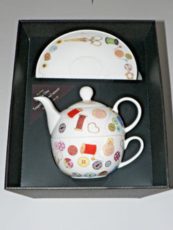 Sewing tea for one set Teapot cup and saucer gift boxed T41 Tea 4 1