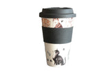 Cats Design Ceramic Travel Mug with Silicone lid and Sleeve