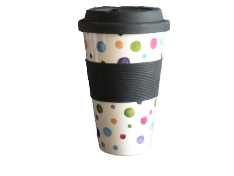 Spots Design Ceramic Travel Mug with Silicone lid and Sleeve