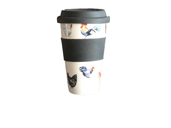Chicken Design Ceramic Travel Mug with Silicone lid and Sleeve