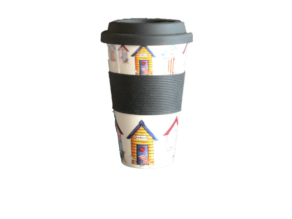 Beach Hut Design Ceramic Travel Mug with Silicone lid and Sleeve