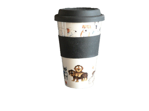 Dogs Design Ceramic Travel Mug with Silicone lid and Sleeve