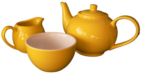 Yellow 15.75oz teapot, milk jug and matching sugar bowl. Boxed option available