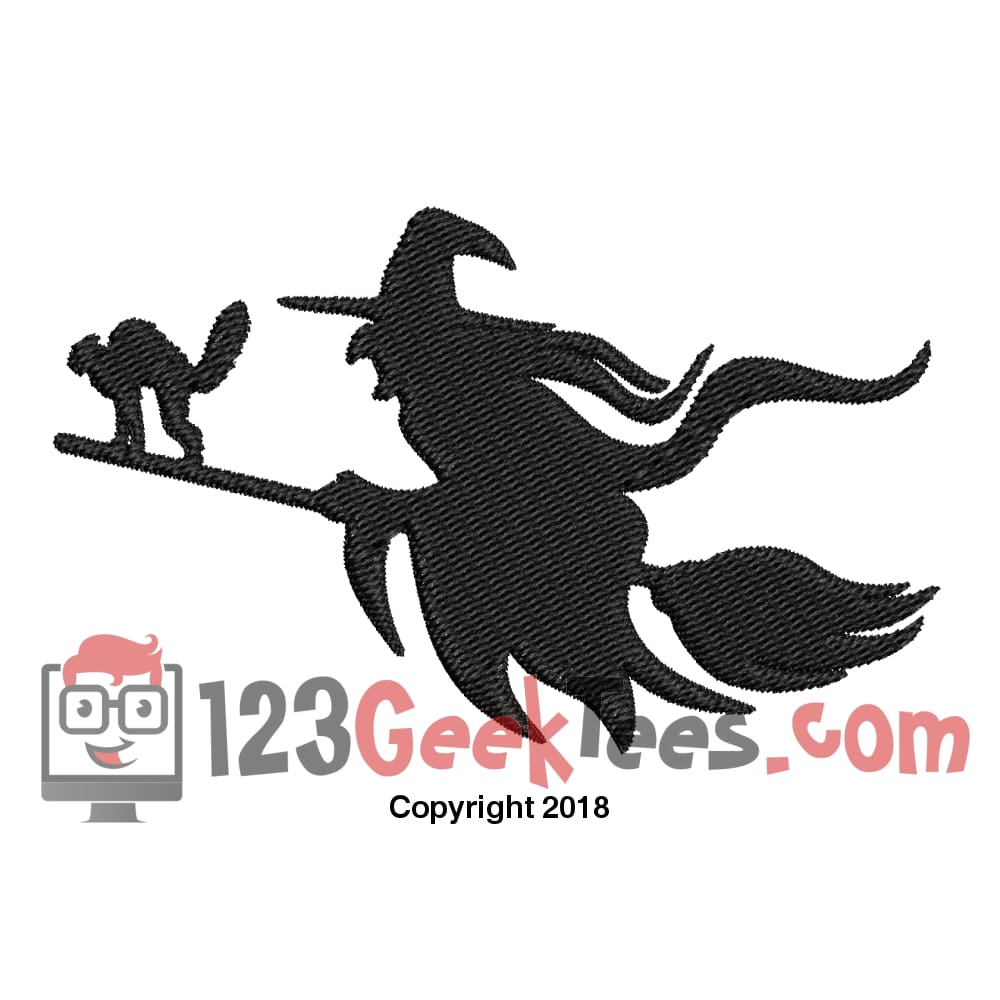 123GeekTees.com - Witch On Broom for 4x4 Hoop Embroidery Design ...