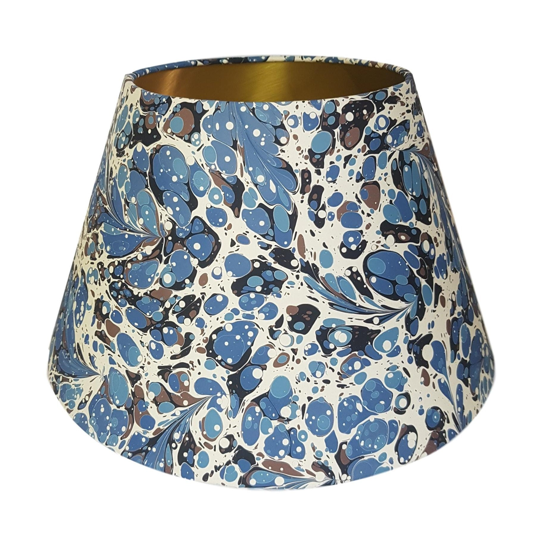 Munro and Kerr blue swirl marbled paper for a handmade empire lampshade