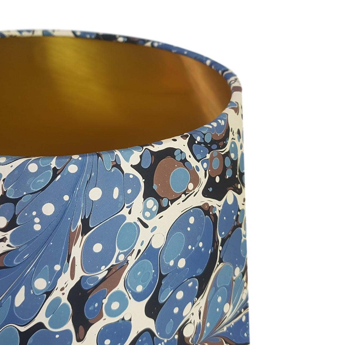 Munro and Kerr blue swirl marbled paper for a handmade tapered drum lampshade