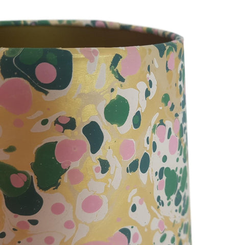Munro and Kerr green pink and metallic gold marbled paper for an tapered drum lampshade