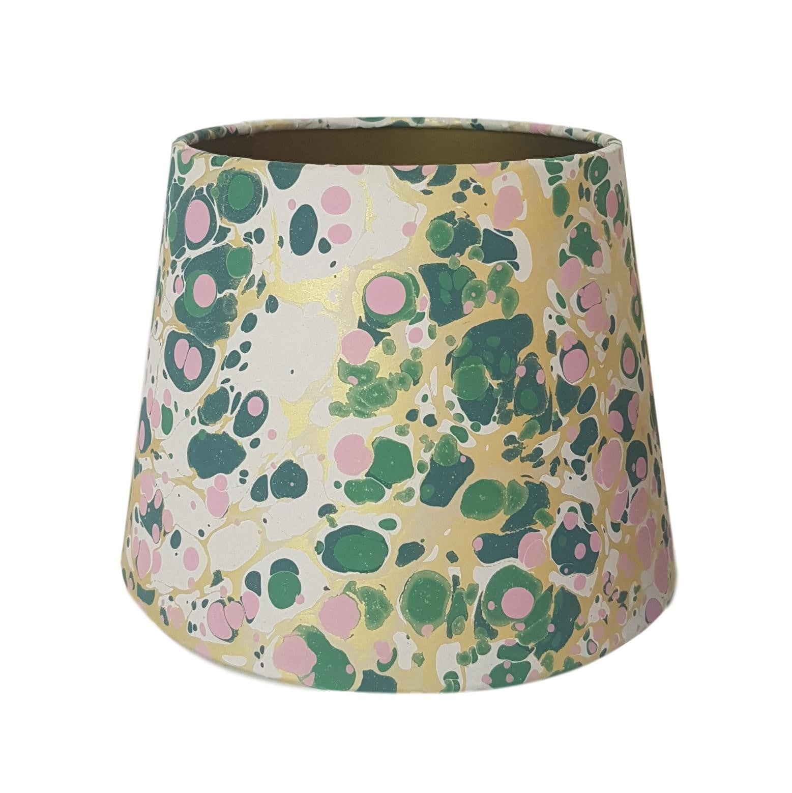 Munro and Kerr green pink and metallic gold marbled paper for an empire lampshade