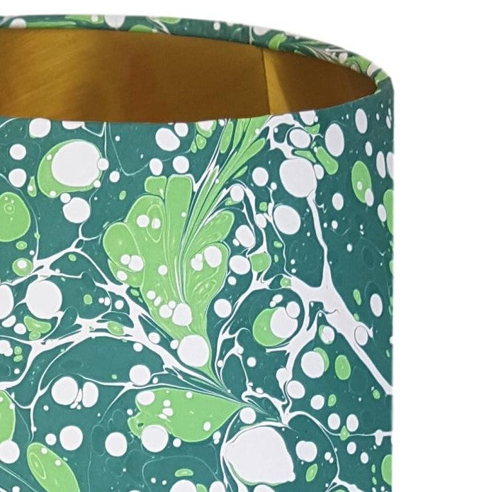 Munro and Kerr green marbled paper for a drum lampshade
