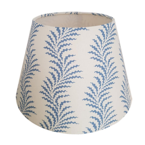Munro and Kerr customers own material soane blue empire lampshade with white lining