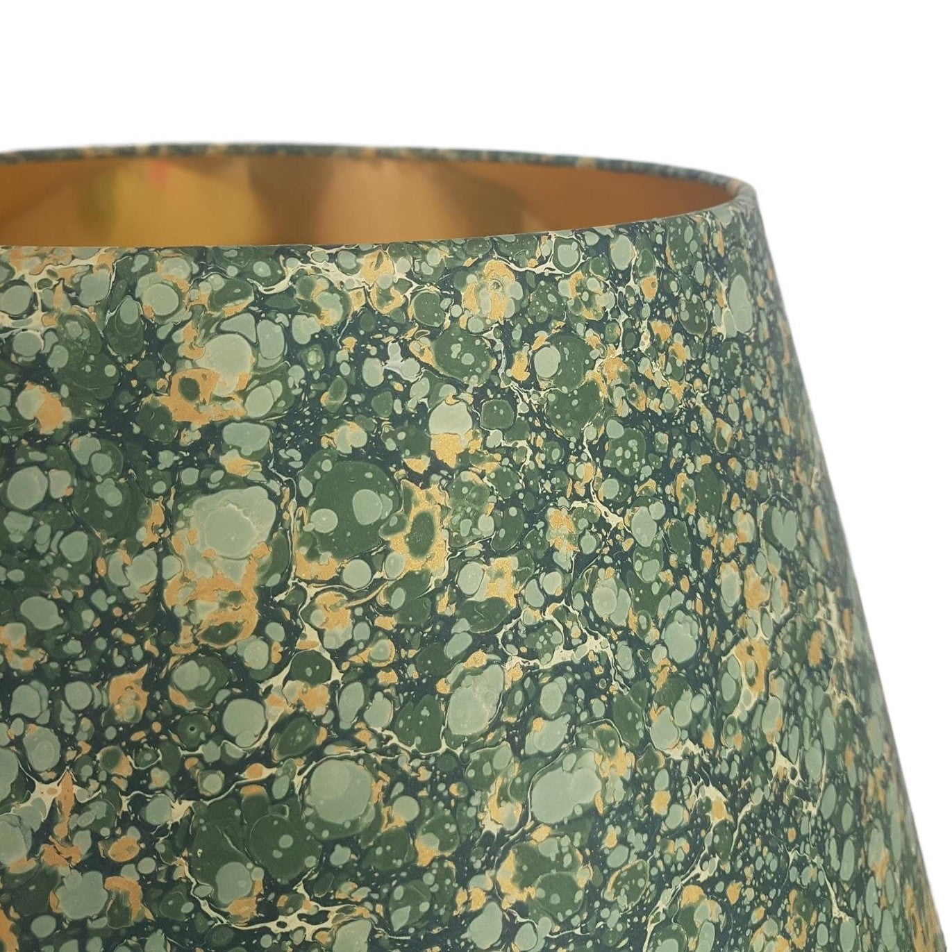 Munro and Kerr green and gold marbled paper for tapered empire lampshade