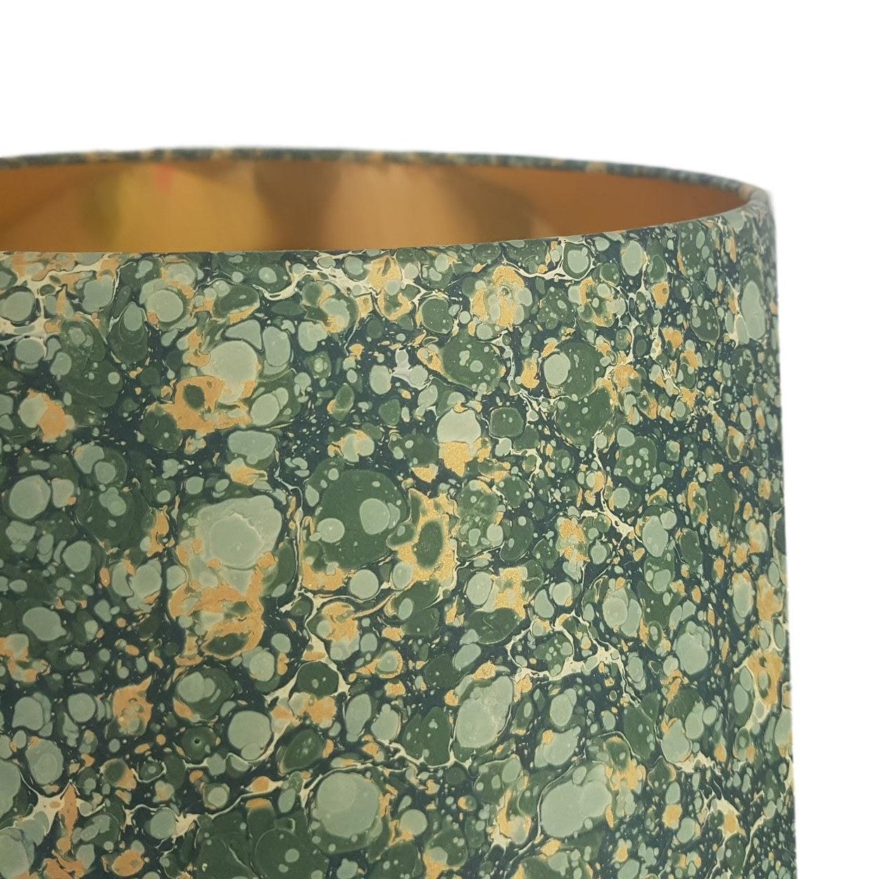 Munro and Kerr green and gold marbled paper for a tapered drum lampshade