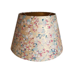 Munro and Kerr blue pink and metallic gold marbled paper for an empire lampshade