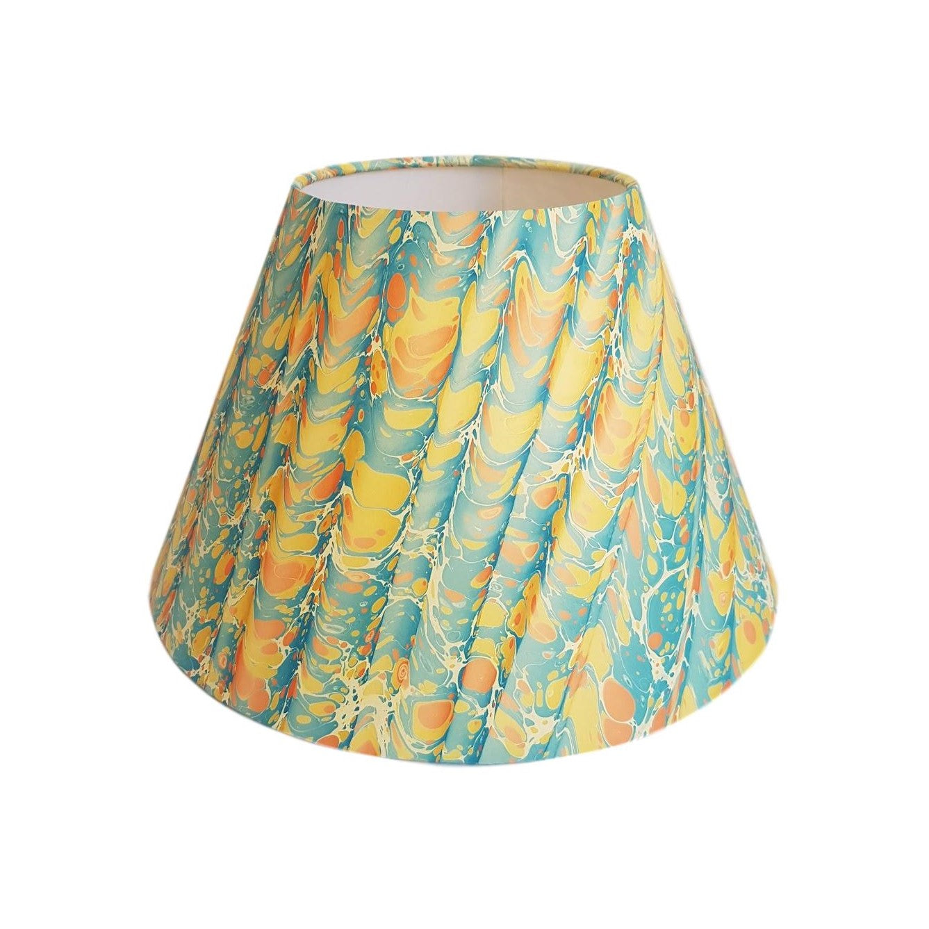 Munro and Kerr yellow blue peach folds marbled paper for a handmade tapered empire lampshade