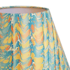 Munro and Kerr yellow blue peach folds marbled paper for a handmade empire lampshade