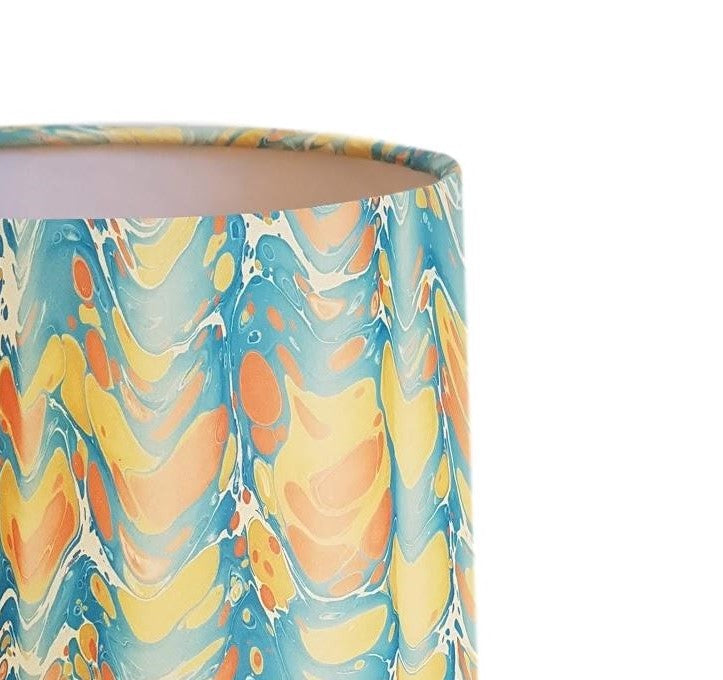 Munro and Kerr yellow blue peach folds marbled paper for a handmade tapered drum lampshade