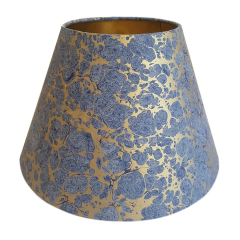 Munro and Kerr blue and gold hand marbled paper tapered empire lampshade