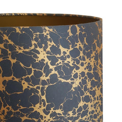 Munro and Kerr navy blue and gold marbled paper for Drum lampshade