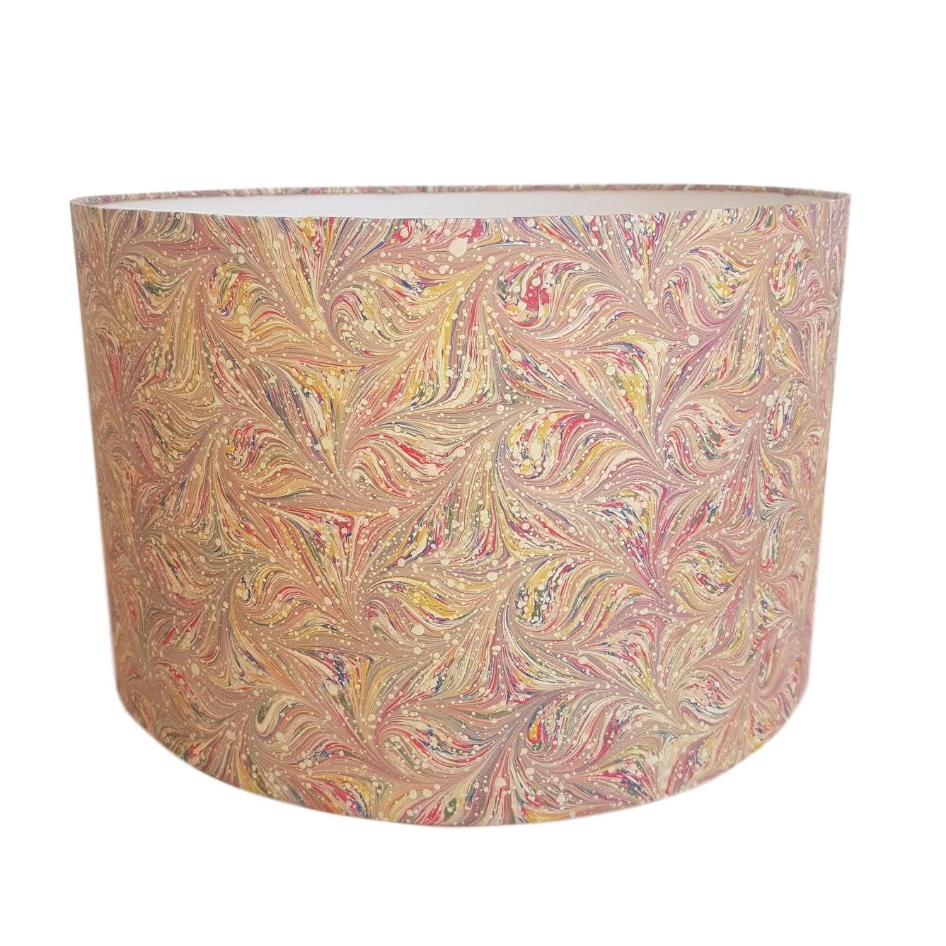 Munro and Kerr combed pink multicolour marbled paper drum lampshade
