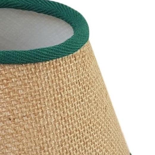 Munro and Kerr handmade hessian empire shape lampshade with green herringbone trim