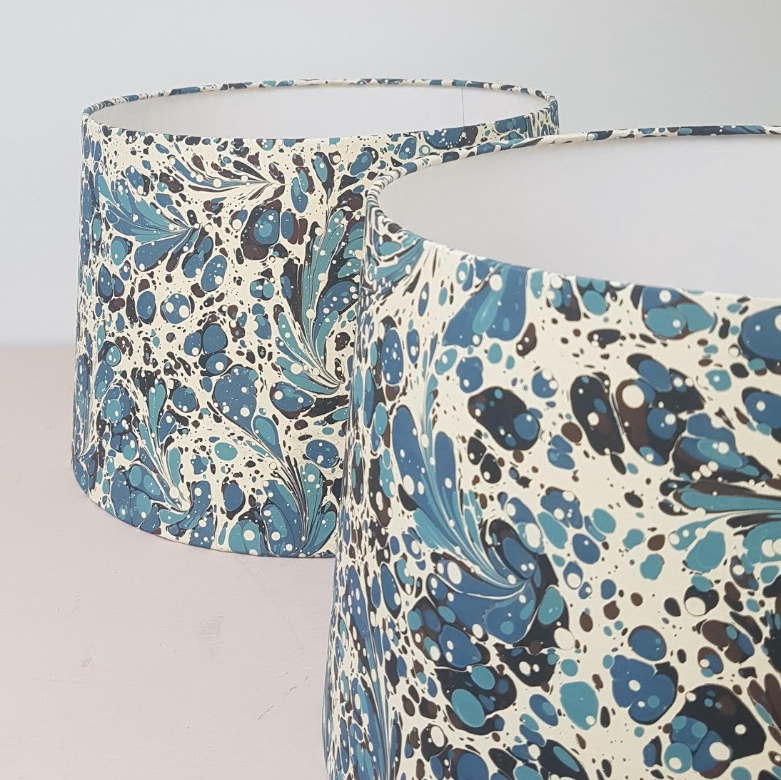 Munro and Kerr Blue modern marbled paper tapered drum lampshade