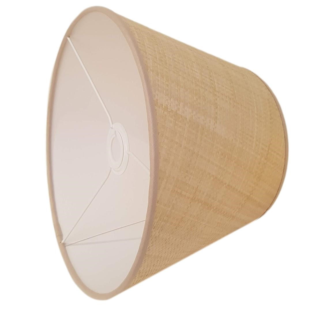 Munro and Kerr Woven paper raffia empire lampshade with coloured trim stone