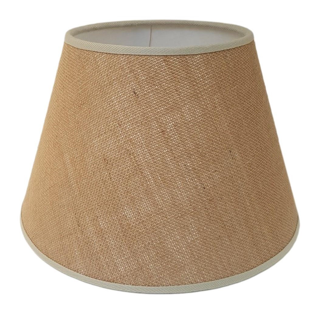 Munro and Kerr natural hessian empire lampshade with coloured binding trim