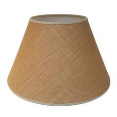 Munro and Kerr natural hessian tapered empire lampshade with coloured binding trim