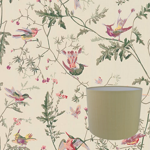 Munro and Kerr drum lampshade in the customers own choice of material fabric wallpaper or paper