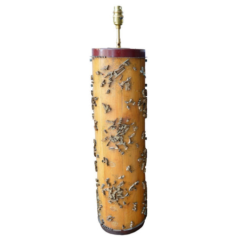 Munro and Kerr lamp base antique floral wallpaper roller from Belgium