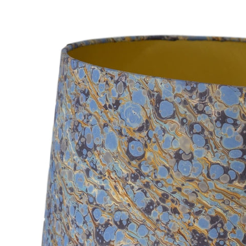 Blue #01 Marbled Paper Drum Lampshade