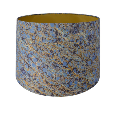 Munro and Kerr blue gold marbled paper lampshade
