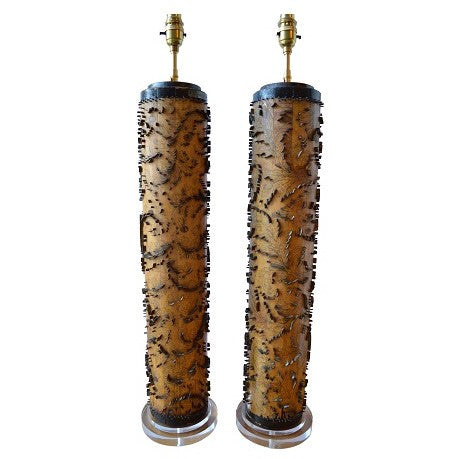 Munro and Kerr Pair of Lamp bases antique wallpaper rollers from Belgium