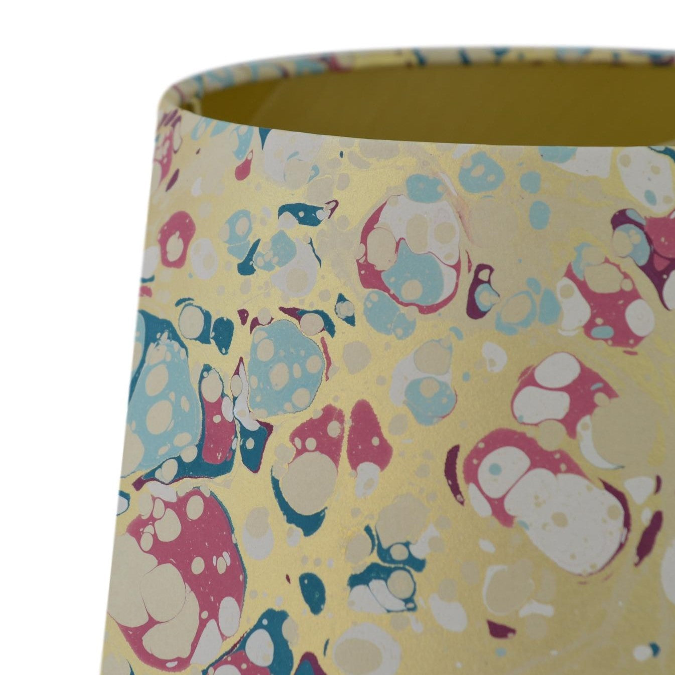 Munro and Kerr blue pink and metallic gold marbled paper for a tapered drum lampshade