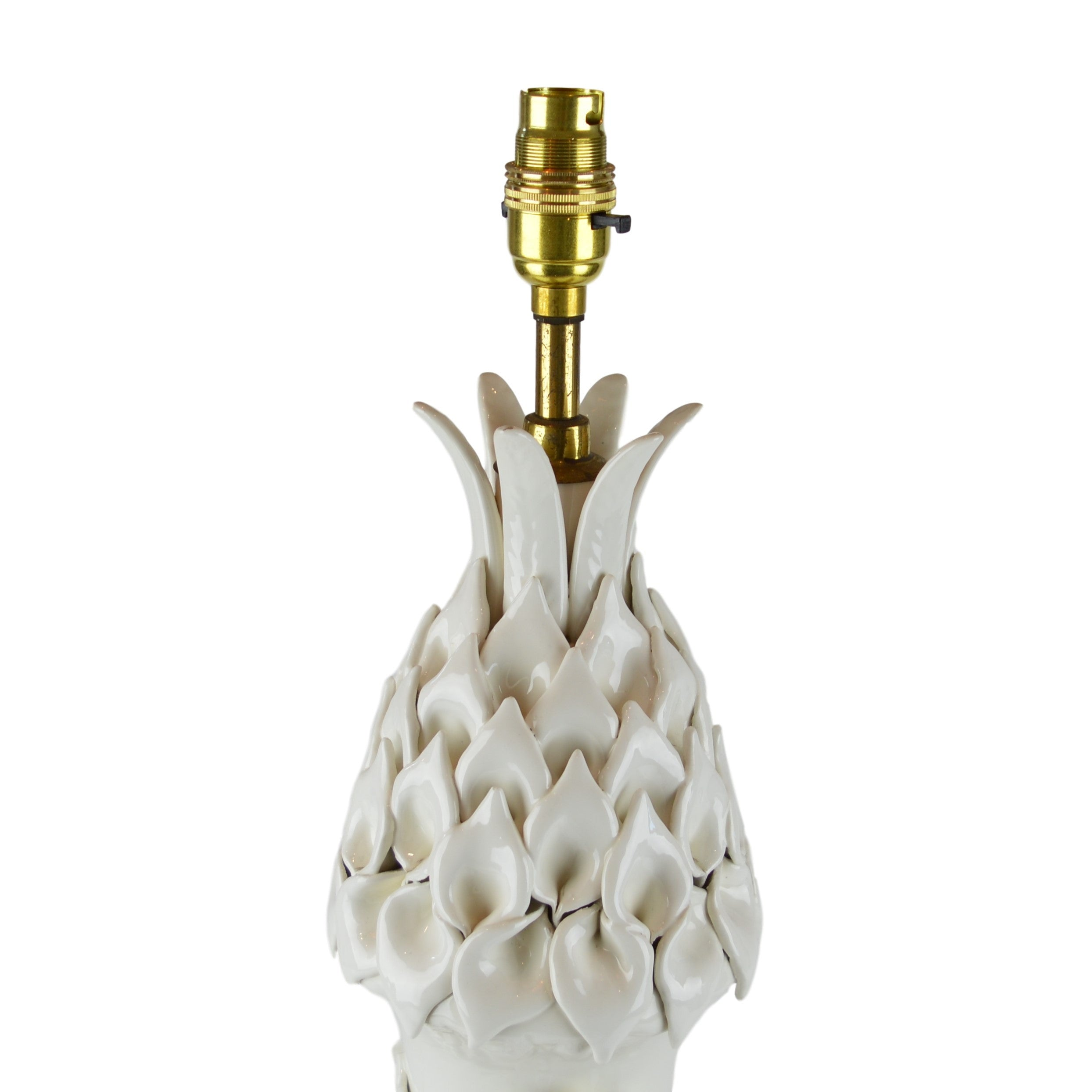 Munro and Kerr Casa Pupo large white lamp with daisy and leaf ceramic details on a gilt base