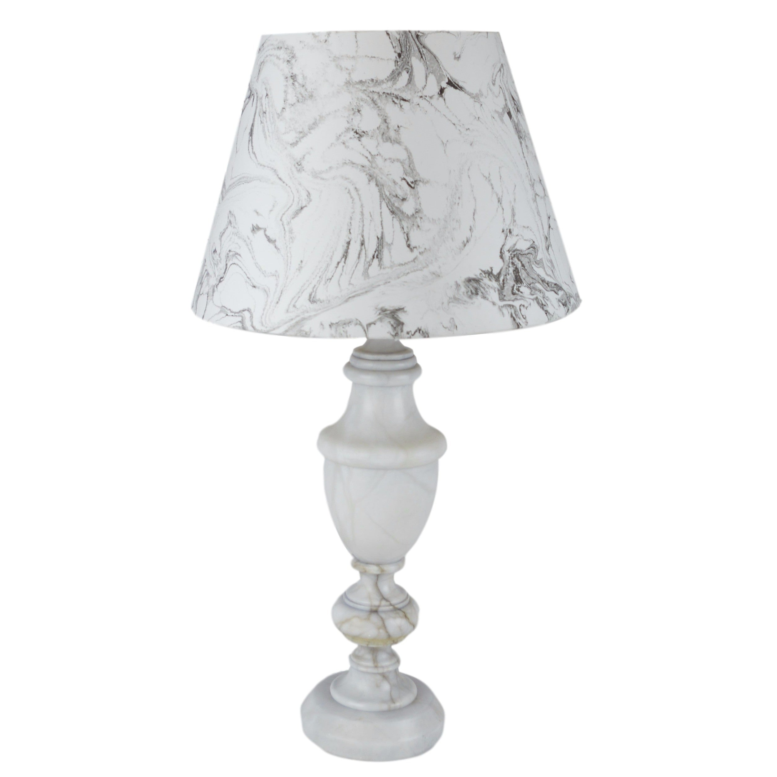 Munro and Kerr hand marbled lampshade and carrara marble lamp base