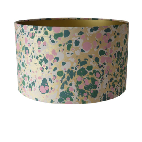 Munro and Kerr green pink and metallic gold marbled paper for a drum lampshade